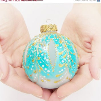 SALE Faberge Inspired Christmas Ornament    glass ball, bauble, hand painted, turquoise blue, gold