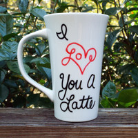 Latte Mug, Large Mug, Love Mug, Hand Painted Latte Mug