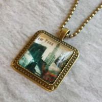 "New York City Big Apple Square Antiqued Brass Glass 27"" Long Necklace"