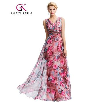 Grace Karin Floral Print Long Evening Dress 2016 Double V Neck Pattern Elegant Prom Gowns Chiffon Pleated Formal Evening Dresses