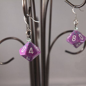 D10 Dice Earrings - Pink and Purple Speckled Geek Jewelry