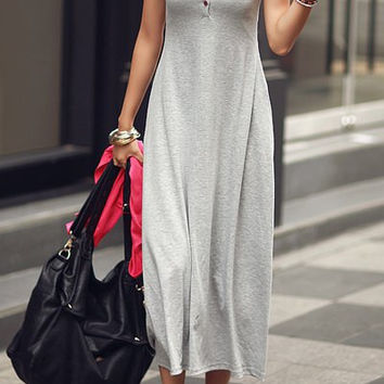 Light Gray Button Embellished Maxi Dress