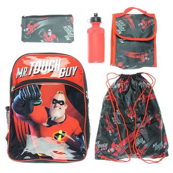 Incredibles 2 Backpack Kids 5 PC Lunch Box Water Bottle Cinch Bag School Set