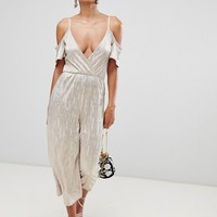 Rare London cold shoulder metallic culotte jumpsuit at asos.com