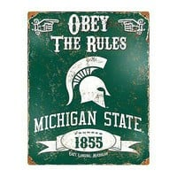 Michigan State Spartans 11x14 Vintage Metal Embossed Sign Room Wall University
