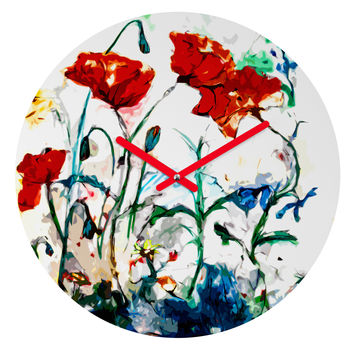 Ginette Fine Art Poppies In Light Round Clock