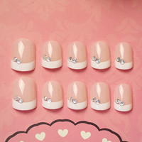 24 PCS Pink and White Two Rhinestones Stud Nail Art