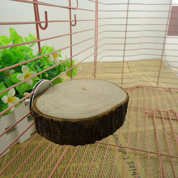 Round Wooden Coin Parrot Birds Hamster Toys Cage Perches Stand Platform Toys Pet Budgie Hanging Birds Toy G01536
