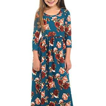 Pastel by Vivienne Honey Vanilla Girls Fit and Flare Maxi Dress with Easy Removable Label