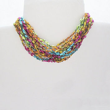 Trellis Yarn Necklace, Ladder Yarn Necklace, Easter Necklace, Ribbon Yarn Necklace,
