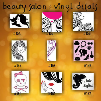 BEAUTY SALON vinyl decals - 154-162 - vinyl stickers - custom car window stickers - car decal - car sticker - beauty shop - spa