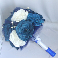 Navy blue bouquet, Bridal bouquets, wedding bouquets, Paper Bouquets, Wedding party bouquets,Fake flower bouquets, silk bouquets, pomanders