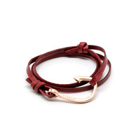 MIANSAI by Michael Saiger :: Hooks :: Rose Gold :: Rose Gold Hook on Burgundy Leather