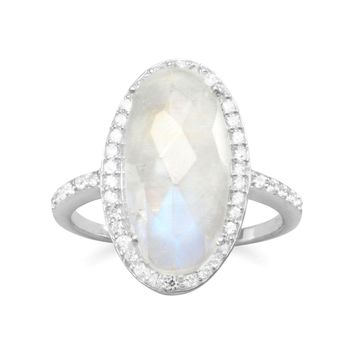 Large Oval Rainbow Moonstone Sterling Silver Halo Ring