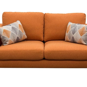 Keppel Solid Fabric Loveseat With Accent Pillow