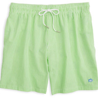 Seersucker Swim Trunks in Green by Southern Tide