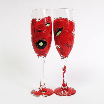 Wedding glasses- Red poppies. Hand painted. Personalized. Champagne glasses. Champagne Flutes. Set of 2. Red flowers.