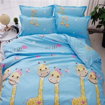Blue and yellow bedding set Twin full king queen size Kids polyester Christmas animal print Giraffe bed sheet quilt duvet covers
