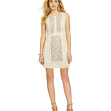 Chelsea & Violet Crocheted Lace Sheath Dress - Beige