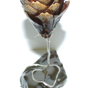 Flower With Silver Stem Rooted on Slate made from Pine Cone