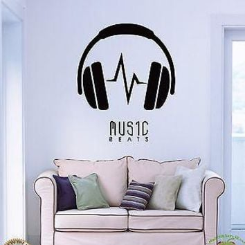 Wall Stickers Vinyl Decal Headphones Music Beats Unique Gift z1184