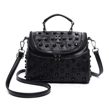 Vintage Style Studded Cross Leather Shoulder Bag Casual Crossbody Bag