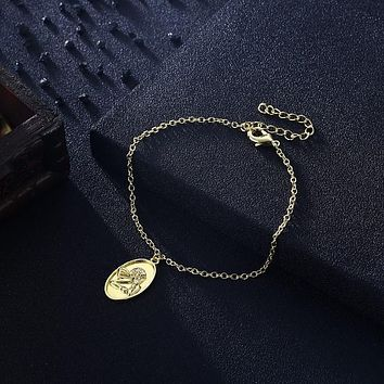 Greek Goddess Coin Bracelet in 18K Gold Plated