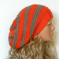 Knit Slouchy Beehive Hat - Knit Hipster Hat - Halloween hat,Slouchy Hipster Hat - Knit Women's Grey Slouchy Hat -Orange hat,striped hat,