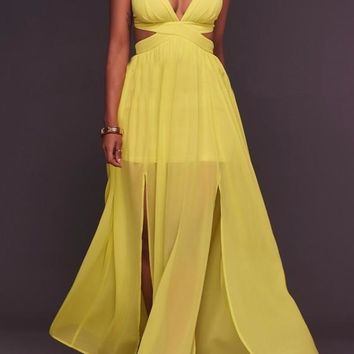 Yellow Backless Cut Out Cross Back Tie Back Side Slit Spaghetti Strap Deep V-neck Flowy Maxi Dress