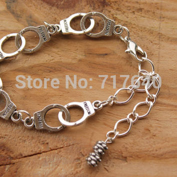 Entrapment Handcuff Charm Bracelet Personalized Hipster Goth Jewelry, 6pcs/lot! Free Shipping!