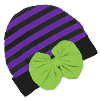 Black Purple Stripe Green Bow Beenie Hat