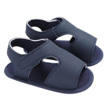 Baby Boy Shoes Non-Slip Rubber Sole PU Leather Summer Sandal First Walkers For Baby Infant Toddler Blue 13cm