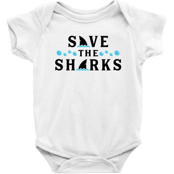 Save The Sharks Baby Onesuit