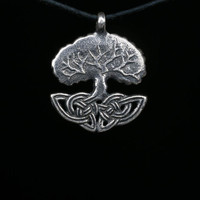 Celtic Tree of Life Pendant, Crann Bethadh, silver-plated brass, handmade ..... World Tree, Arbor Mundi, Yggdrasil