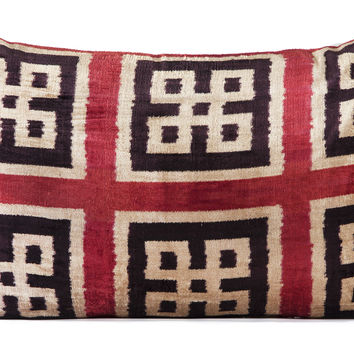 "16"" x 24"" Silk Velvet Ikat Pillow, Black/Red"