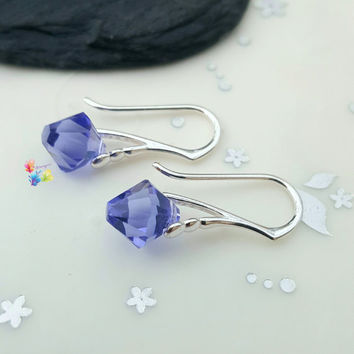 Swarovski Crystal Earrings, Tanzanite, Sterling Silver, Gift for her, wife, girlfriend, fiancee, sister, Plum, purple