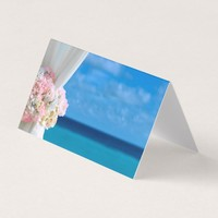 Elegant Floral Ocean Beach Summer Place Card