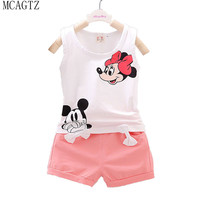 Minnie Spring Baby Clothing Sets Children Boys Girls Kids Brand Sport Suits Tracksuits Cotton Short + Pants 2pcs