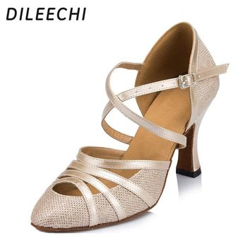 DILEECHI Women's Latin dance shoes Autumn and Winter Ballroom dancing shoes 8cm heel height Gray Champagne Silver color