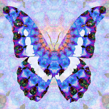 'Purple Mandala Butterfly Art by Sharon Cummings' by Sharon Cummings