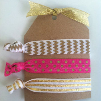 No Crease Hair Ties Sport It-Glamour Gold gold and white chevron pink white glitter gold