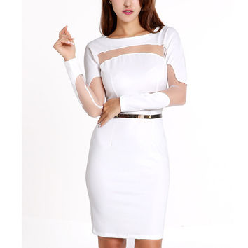White Belted Bodycon Long Sleeve Mini Dress with Mesh Accent