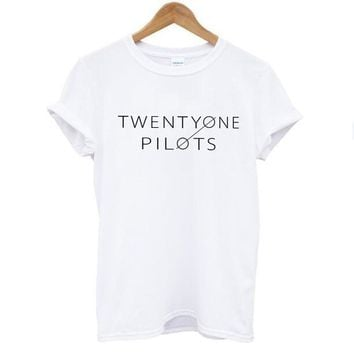 Twenty One Pilots Letter Print t shirt tops Women White Cotton Short Sleeve O-neck Slim Casual t-shirt tees cheap women clothes
