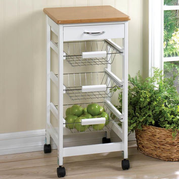 Kitchen Cart   Country White with 3 Slide-out Wire Baskets