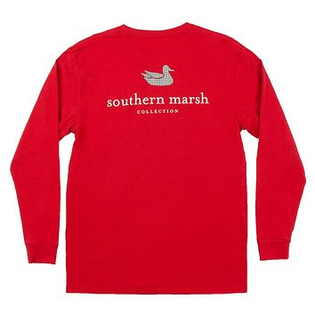 Long Sleeve Authentic Collegiate Tee Shirt in Crimson with Houndstooth Duck by Southern Marsh - FINAL SALE