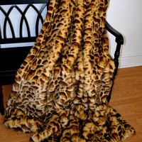 "Faux Fur Throw, Stunning Leopard Faux Fur, Animal Print Blanket Throw, 72"" x 60"", Ready to Ship!"