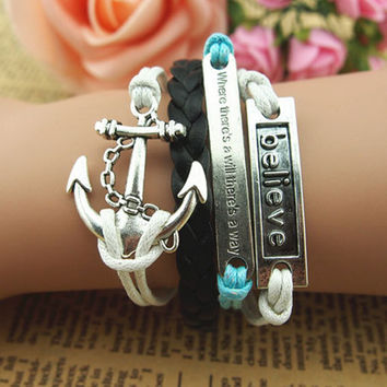 fashion Unique Hand Chain Anchor,Best Friend Bracelet Charm Bracelet black braid leather Bracelet boy motto bracelet Braid Leather Free Gift