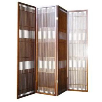 Home Decorators Collection, 4-Panel Wood Room Divider in Walnut, R5427-4 at The Home Depot - Mobile