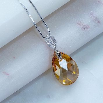 Champagne Yellow Swarovski Crystals Teardrop Necklace