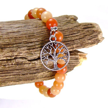 Red Aventurine Energy Bracelet for Creativity Tree of Life Charm